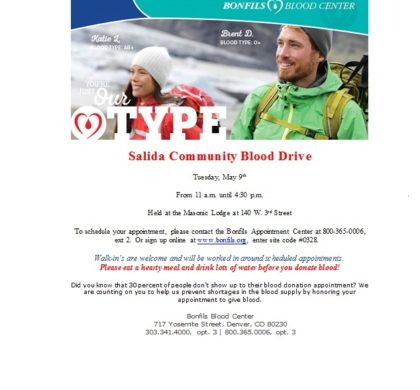 Salida Community Blood Drive – May 9th