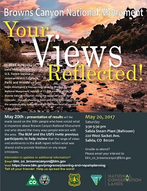 Presentation of Browns Canyon National Monument draft report – May 20th