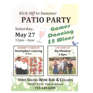 Vino Salida – Kick off to Summer Patio Party – May 27