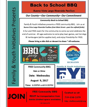 F.Y.I – Back to School BBQ – August 9