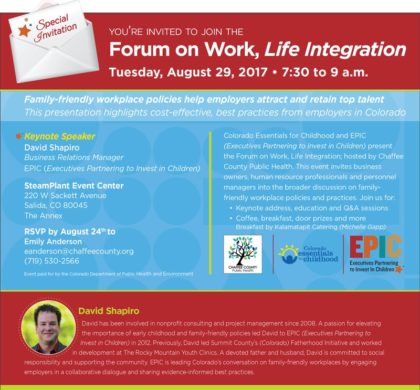 Chaffee County Public Health – Family Friendly Forum – August 29