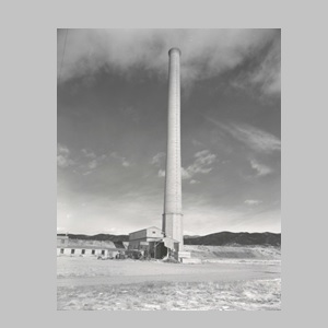 Photo of the Smelter Smokestack taken in 1974, the year it was rescued from demolition by the citizen Save Our Stack Committee.