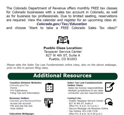 Colorado Sales Tax Classes
