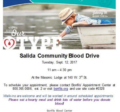 Salida Community Blood Drive – September 12